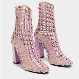 nasty gal lilac cage heel boots